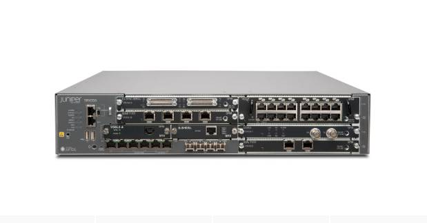 SRX550 Platform, 2RU Height, 6 GPIM Slots, 2 MPIM Slots, 6 10/100/1000Base-T Ports, 4 GE SFP Ports, dual PS Slots, fans. Power supply not included