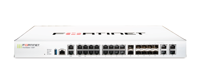 Firewall Fortigate FG-100F-BDL va FG-100F ​22x GE RJ45 ports (including 2x WAN ports, 1x DMZ port, 1x Mgmt port, 2x HA ports, 16x switch ports with 4 SFP port shared media), 4 SFP ports, 2x 10 GE SFP+ FortiLinks, dual power supplies redundancy. Max managed FortiAPs (Total / Tunnel) 64 / 32.